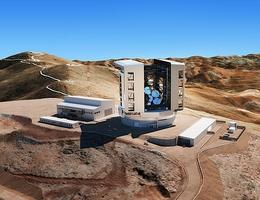 Künstlerische Darstellung des Gehäuses, des Teleskops und des Standorts (Las Campanas, Chile). (Bild: M3 Engineering)