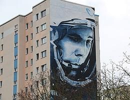 Gagarin in Berlin-Hellersdorf - Künstler Victor Ash. (Bild: A. Weise)