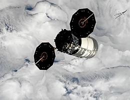 Cygnus NG-14 nach Verlassen der ISS (Bild: NASA TV)