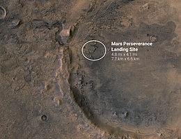 Lande-Ellipse auf dem Mars (Bild: ESA/DLR/FU-Berlin/NASA/JPL-Caltech)