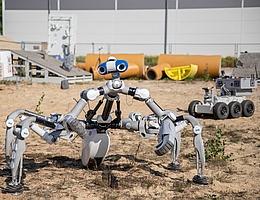 Laufroboter Mantis und Rover VELES bei Tests auf dem Außengelände des DFKI. (Bild: DFKI GmbH, Annemarie Popp)