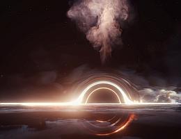 Herz der Finsternis: Blick auf die Akkretionsscheibe um das supermassereiche Schwarze Loch mit einem energiereichen Materiestrom, der nach oben von der Scheibe wegschießt. Die extreme Masse des Schwarzen Lochs krümmt die Raumzeit derart, dass ein Bild der abgewandten Seite über und unter dem Schwarzen Loch sichtbar wird. (Bild: DESY, Science Communication Lab)
