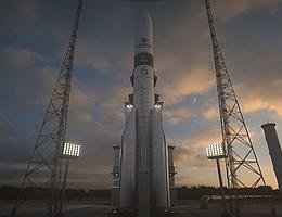 Ariane 6 auf der Startanlage - Illustration. (Bild: ArieneGroup)
