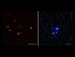 Ein Vergleich des Röntgenbildes von eROSITA (links) und des optischen Bildes (rechts) mit einem herkömmlichen Teleskop von jungen Sternen im eta Cha-Haufen im Sternbild Chamäleon. Die hier abgebildeten Sterne sind tausendmal aktiver als unsere Sonne. Beide Bilder zeigen die gleiche Himmelsregion. (Bild: eROSITA collaboration/Robrade)