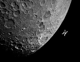 Auf dem Weg zum Mond. (Bild: NASA, Bildmontage: DLR)