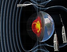 SWARM Mission bestehend aus drei Forschungssatelliten - Illustration. (Bild: Astrium via GFZ)
