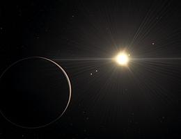 Diese künstlerische Darstellung zeigt den Blick von dem Planeten im TOI-178-System, der am weitesten vom Stern entfernt gefunden wurde. Eine neue Untersuchung von Adrien Leleu und seinen Kollegen mit mehreren Teleskopen, darunter das Very Large Telescope der ESO, hat ergeben, dass das System sechs Exoplaneten aufweist und dass bis auf den, der dem Stern am nächsten ist, alle in einem ungewöhnlichen Rhythmus in ihren Bahnen verharren. Doch während die Bahnbewegungen in diesem System harmonisch verlaufen, sind die physikalischen Eigenschaften der Planeten eher ungeordnet, mit signifikanten Schwankungen in der Dichte von Planet zu Planet. Dieser Kontrast stellt das Verständnis der Astronomen darüber, wie Planeten entstehen und sich entwickeln, in Frage. Diese künstlerische Darstellung basiert auf den bekannten physikalischen Parametern für die Planeten und den betrachteten Stern und nutzt eine umfangreiche Datenbank von Objekten im Universum. (Bild: ESO/L. Calçada/spaceengine.org)