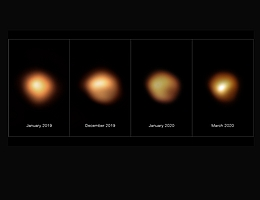 Diese Bilder, die mit dem SPHERE-Instrument am Very Large Telescope der ESO aufgenommen wurden, zeigen die Oberfläche des roten Überriesensterns Beteigeuze während seines beispiellosen Helligkeitseinbruchs, der Ende 2019 und Anfang 2020 stattfand. Das Bild ganz links, aufgenommen im Januar 2019, zeigt den Stern bei seiner normalen Helligkeit, während die übrigen Bilder von Dezember 2019, Januar 2020 und März 2020 alle aufgenommen wurden, als die Helligkeit des Sterns merklich abgenommen hatte, insbesondere in seiner südlichen Region. Die Helligkeit kehrte im April 2020 auf Normalwerte zurück. (Bild: ESO/M. Montargès et al.)