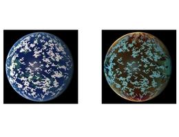"""Simulierte Ansichten eines erdähnlichen Planeten außerhalb unseres Sonnensystems mit Wolken, Landmassen und Ozeanen. Links ist das """"normale"""" Bild des Planeten zu sehen, rechts das Ergebnis des neuen Kieler Simulationsverfahrens. Es bezieht auch die Polarisation der Planetenstrahlung mit ein und enthält so noch weitere Informationen über dessen Beschaffenheit. (Bild: Moritz Lietzow, Sebastian Wolf)"""