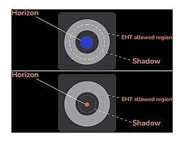 Größe des Ereignishorizonts für verschiedene Gravitationstheorien.Die berechneten Schatten schwarzer Löcher unterscheiden sich in der Größe, doch nur die Schatten, die in den grauen Bereich fallen, stimmen mit den Messungen zum schwarzen Loch M87* überein, die 2017 durch die Event Horizon Telescope-Kollaboration gemacht wurden. Das in dieser Abbildung rot dargestellte schwarze Loch ist zu klein, um ein tragfähiges Modell für M87* zu sein. (Bild: Prashant Kocherlakota, Luciano Rezzolla (Goethe University Frankfurt and EHT Collaboration/ Fiks Film 2021))